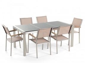 Zestaw meble ogrodowe stół granitowy 180 cm szary polerowany z 6 beżowymi krzesłami