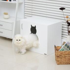 Dom dla kota szafka kot  kuweta leżanka kryjówka biała 2w1