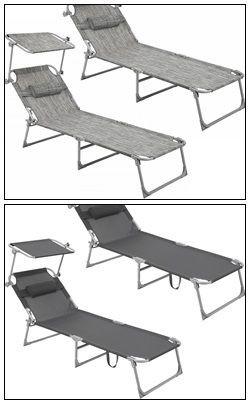 Zestaw 2 szt Leżak ogrodowy plażowy z daszkiem składany relax 2x leżaki z poduszką