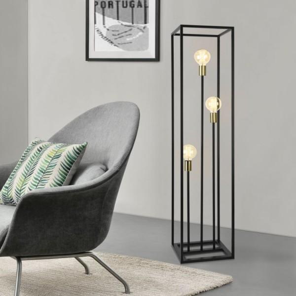 Nowoczesna lampa podłogowa czarna 3 żarówki 140 cm