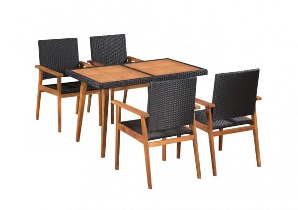Zestaw mebli ogrodowych rattan drewniany blat czarny brązowy stół + krzesła
