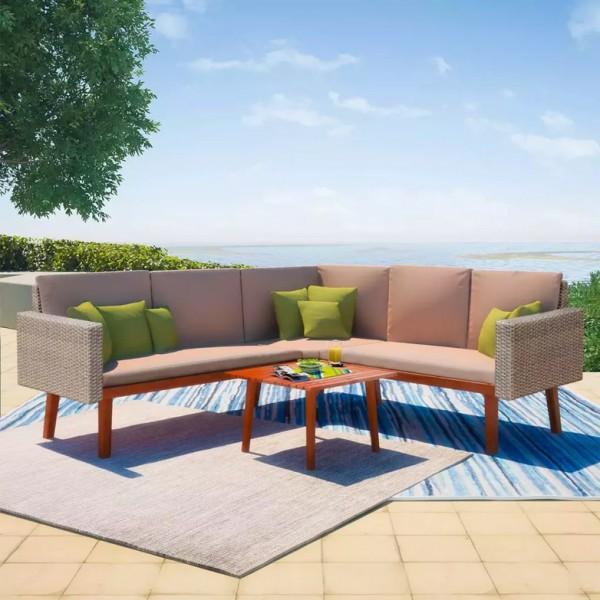 Zestaw wypoczynkowy do ogrodu rattan narożnik z poduszkami + stolik