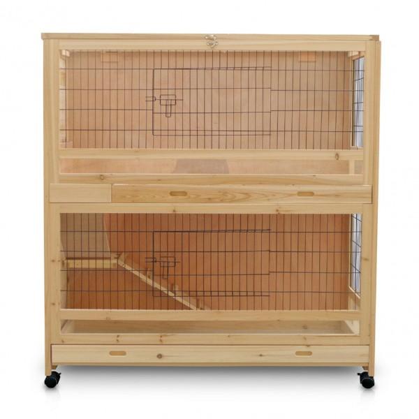 Klatka dla zwierząt dla królików i gryzoni 2-poziomowa na kółkach