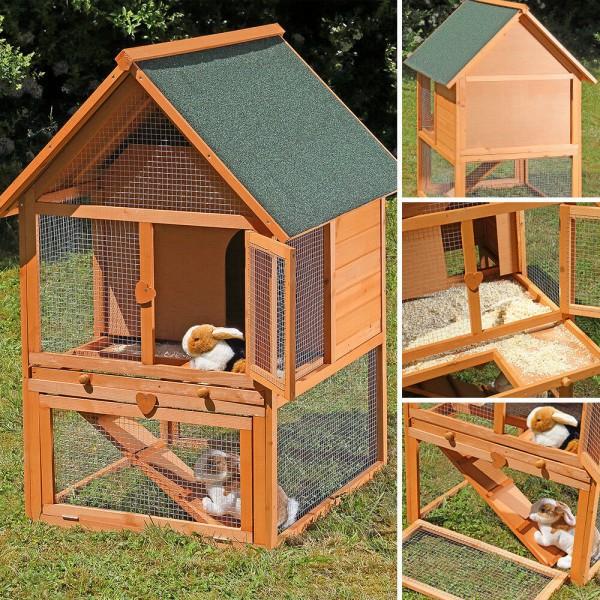 Drewniana klatka dla królików dla zwierząt małych gryzoni domek