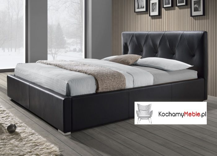 łóżko Do Sypialni Pikowane Czarne 180x200 Stelaż Model