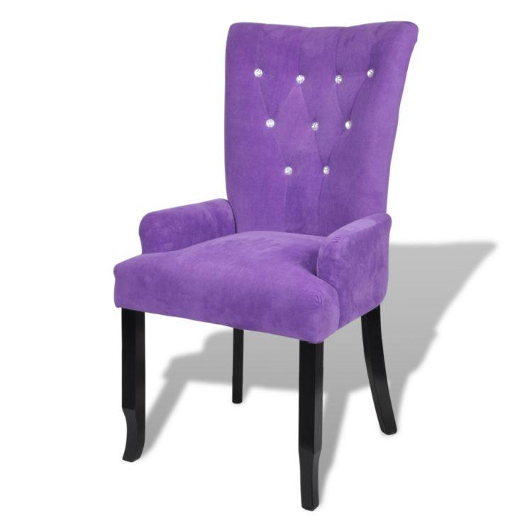 Fotel Eleganckie Krzesło Tapicerowane Czarne Fiolet