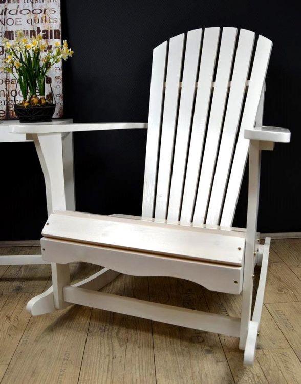 Drewniany Fotel Bujany Krzesło Białe