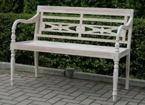 Ławka ogrodowa ławeczka drewniana shabby biała