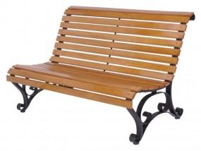 Ławka ogrodowa ławeczka drewniana metalowe boki