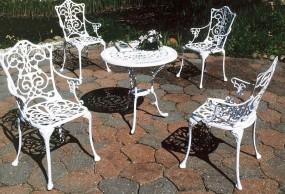 Meble ogrodowe metalowe z aluminium 4 krzesła+ stół komplet