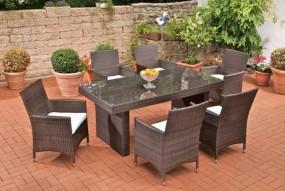Meble ogrodowe rattanowe stół + 6 krzeseł + poduchy