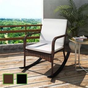 Fotel bujany rattanowy krzesło rattan czarne brąz