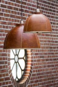 Lampa sufitowa skórzana vintage shabby loft