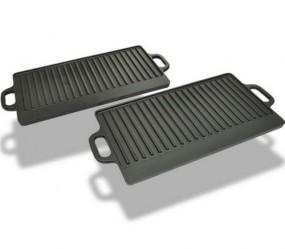 Grill żeliwny, patelnia grillowa 2 płyty żeliwne