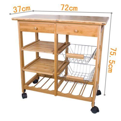 W zek kuchenny stolik z szufladami bambusowy k ka sklep for Mesa auxiliar cocina con ruedas