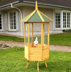 Woliera drewniana 6-kątna dla ptaków egzotycznych klatka dla zwierząt