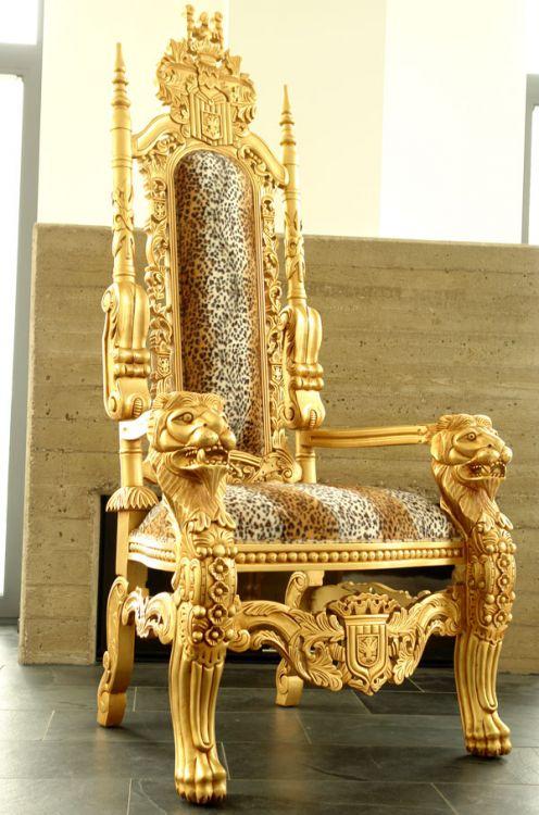 fotel barokowy z�oty tron lion sklep kochamymeblepl