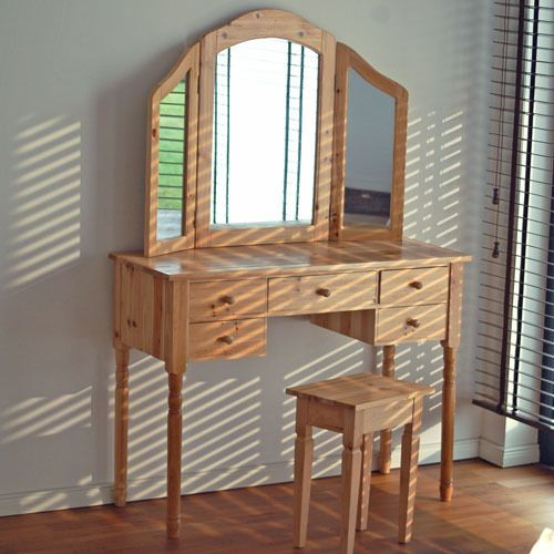 Toaletka z hokerem lustrem drewniana sklep - Schminktisch metall ...