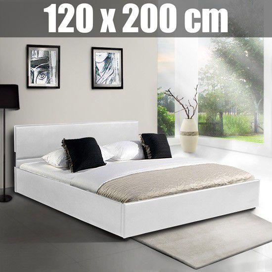 łóżko Białe Skórzane 120x200 Pojemnik Na Pościel Sklep