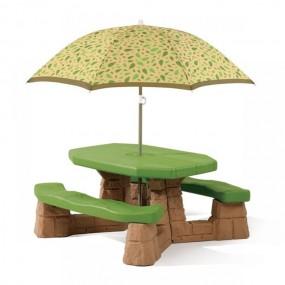 Stolik dla dzieci ławka z parasolem zestaw komplet