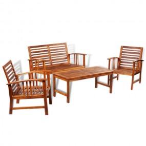 Meble ogrodowe drewniane 2 krzesła + stół + ławka komplet
