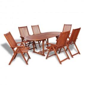 Meble ogrodowe drewniane akacjowe 6 krzeseł+ rozkładany stół