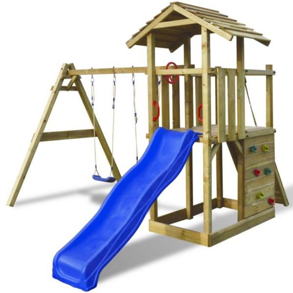 Plac zabaw drewniany zjeżdżalnia huśtawki ścianka