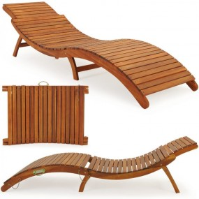 Leżak drewniany z akacji leżanka spa