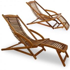 Leżak drewniany z akacji leżanka spa + poduszka