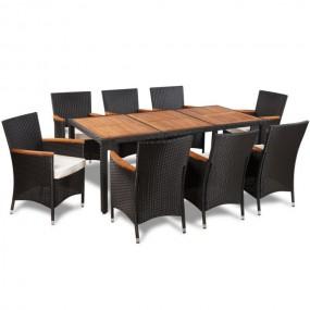 Meble ogrodowe rattanowe stół +8 krzeseł drewno