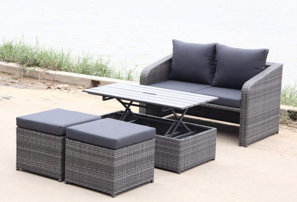 meble ogrodowe szare dla 4 os b rattan sklep. Black Bedroom Furniture Sets. Home Design Ideas