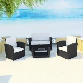 Meble ogrodowe rattanowe sofa fotele stół kolor czarny