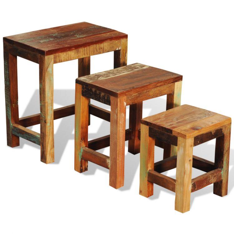 Stolik Zestaw 3 Sztuk Komplet Stare Drewno Nowość