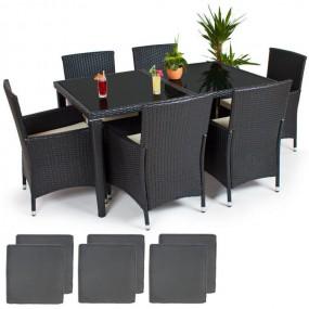 Meble ogrodowe rattanowe stół +6 krzeseł drewno