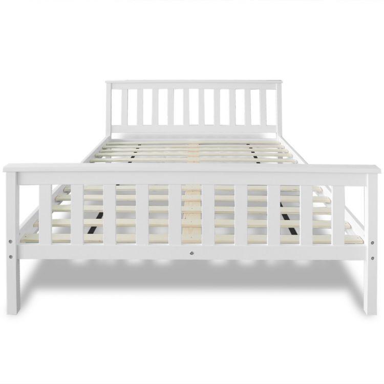 łóżko Drewniane Białe Sosnowe 180x200 Stelażmaterac