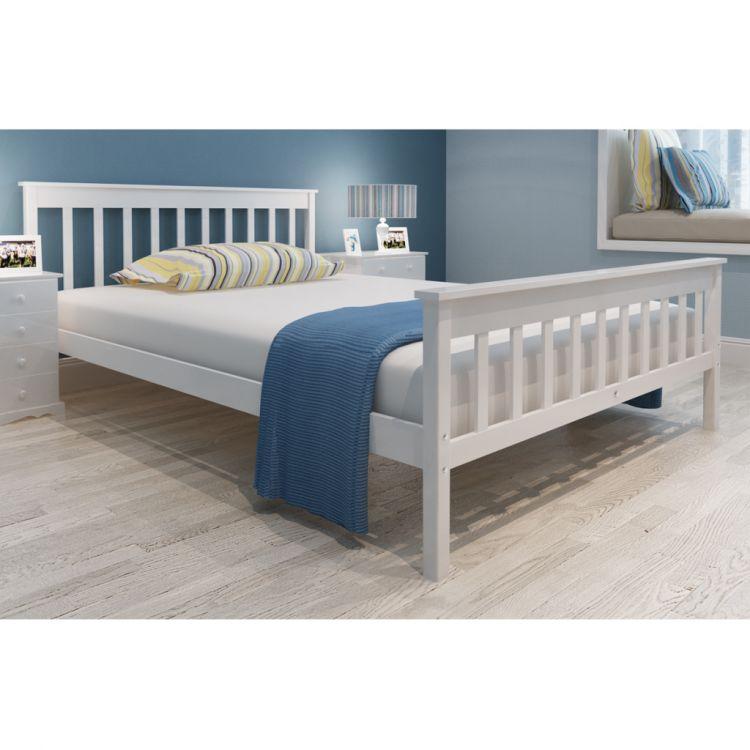 łóżko Drewniane Białe Sosnowe 180x200 Stelażmaterac Sklep