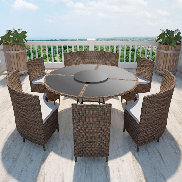 Zestaw mebli ogrodowych okrągły dla 12 osób brąz stół+krzesła