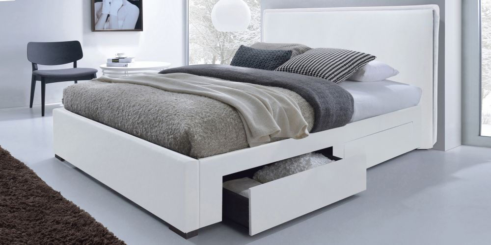 łóżko Skórzane Białe Z Szufladami 160x200 Nowość Sklep