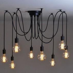 Lampa przemysłowa loft vintage 8 głów żyrandol