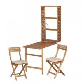 Zestaw mebli balkonowych barek stolik regał + 2 krzesła meble ogrodowe drewniane