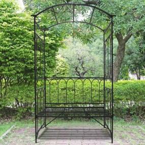 Ławka ławeczka dekoracyjna z pergolą metalowa pergola dekoracja ogród sad
