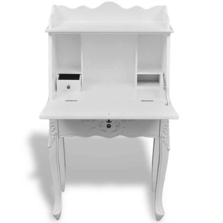 Antique writing desk furniture office vintage white wooden table shabby chic new ebay - Antique white office desk ...