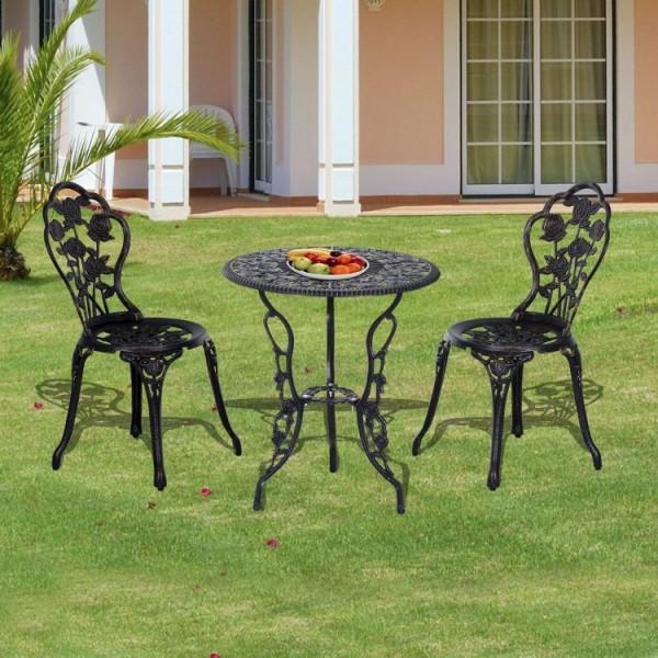Zestaw Mebli Ogrodowych Balkonowych Stół Stolik 2 Krzesła Meble Ogrodowe Metalowe