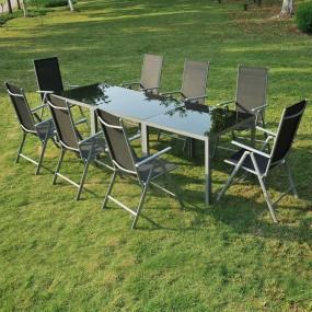 8-osobowy zestaw mebli aluminiowych 8 krzeseł + 3 stoliki meble ogrodowe metalowe