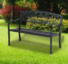 Ławka metalowa czarna Welcome 126 cm