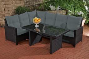 Meble ogrodowe rattanowe sofa stolik czarna poduszki
