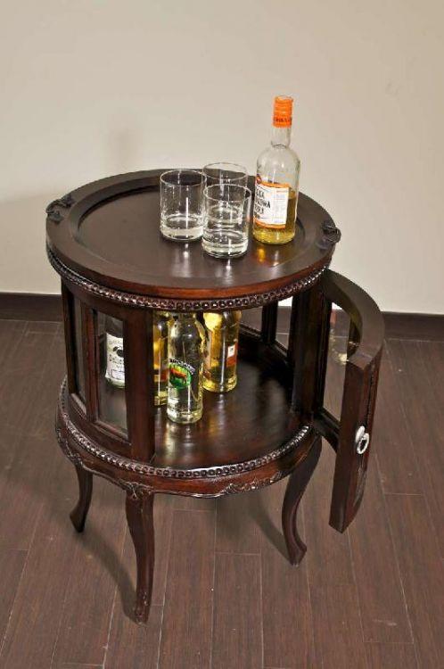 Barek okr g y na alkohol komoda drewno naturalne szafka - Beistelltisch kolonialstil ...
