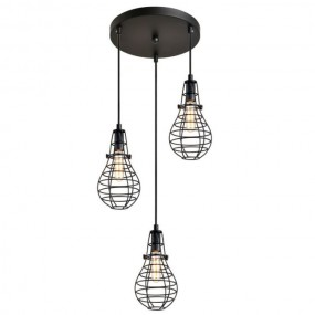 Lampa retro abażur metalowy żyrandol loft czarny