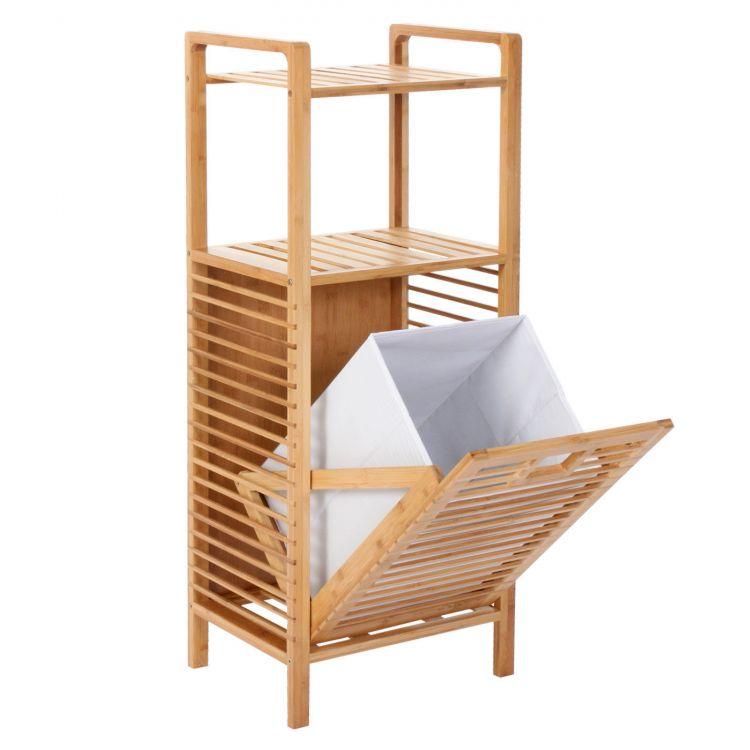 Bambusowy kosz na pranie z p k rega azienkowy sklep for Console salle de bain