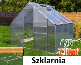 Szklarnia poliwęglanowa namiot tunel ogrodowy uprawa ogród 7,10 m3 / 4,75 m2